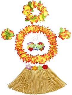WISDOMTOY 6 Purple zj-toy Piece Holiday Christmas Party Costumes Hawaiian Hula Grass Skirt Dance Wears Clothing Set
