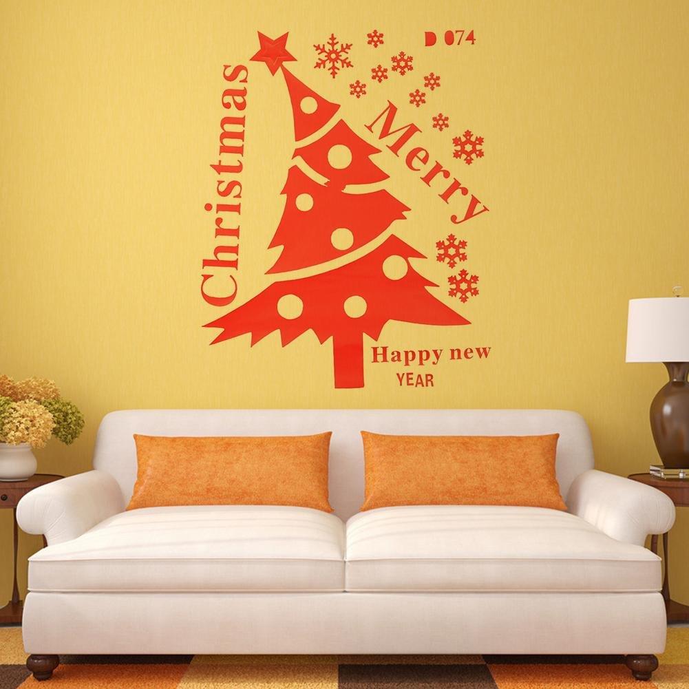 Amazon.com: Mikolot Merry Christmas Tree Snowflake Removable Wall ...