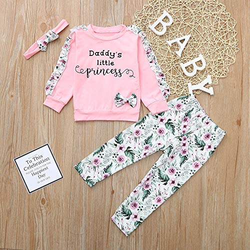 NUWFOR Baby Girls Kids Floral Clothes Long Sleeve T-Shirt+Pants+Headband Outfits Set(Pink,3-6Months by NUWFOR (Image #1)