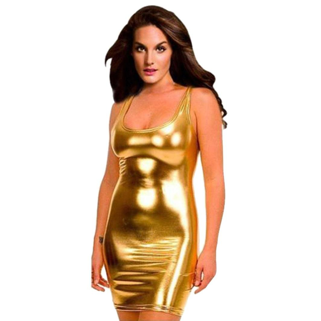Minisoya Women's Erotic Lingerie Mini Nightdress Shiny Babydoll Bodysuit Teddy Clubwear Bodycon Dress Temptation Racy Sleepwear
