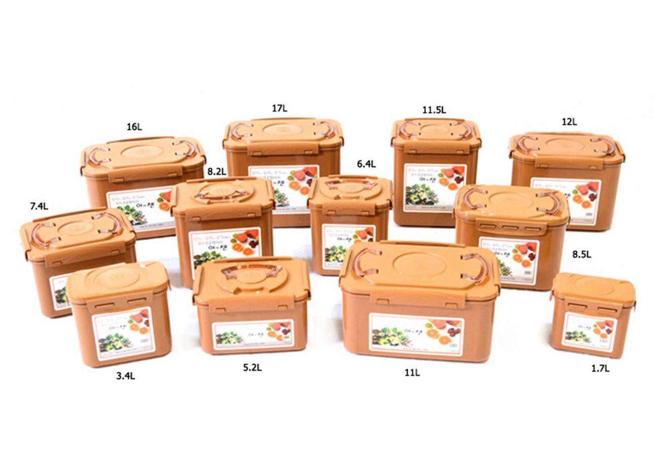 E-Jen Premium Kimchi, Sauerkraut Container Probiotic Fermentation with Inner Vacuum Lid (Earthenware Brown, 4.4 gal/ 17L)
