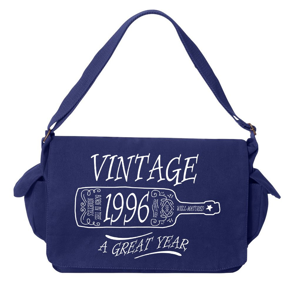 Tenacitee Aged Like a Fine Wine 1996 Royal Blue Brushed Canvas Messenger Bag