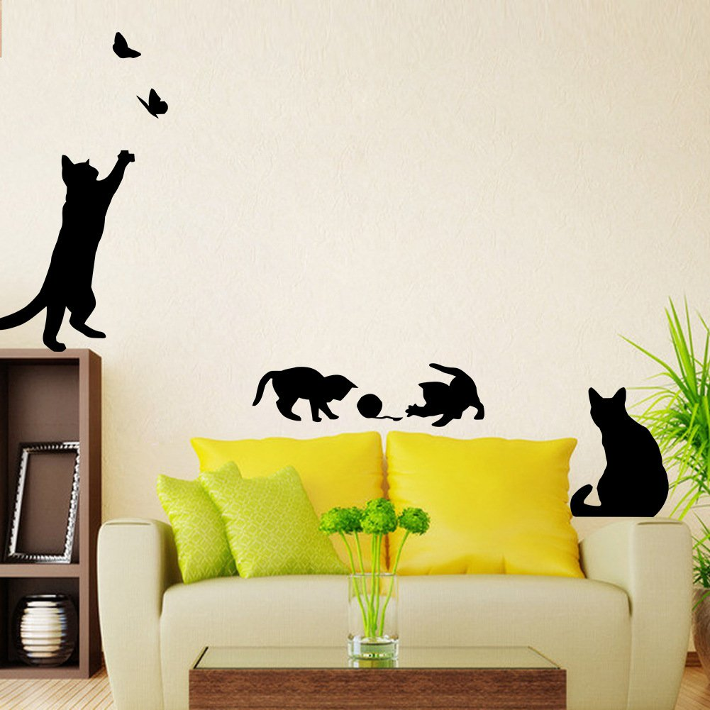 Black Cats Design Catching Butterfly Playing with Ball Art Peel ...
