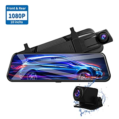 NEWekey Mirror Dash Camera 10 inchs Full Touch Screen Backup Camera Mirror, Streaming Media 1080P HD Front and Rear View Mirror Dash Camera with G-Sensor and Night Vision Waterproof: Car Electronics