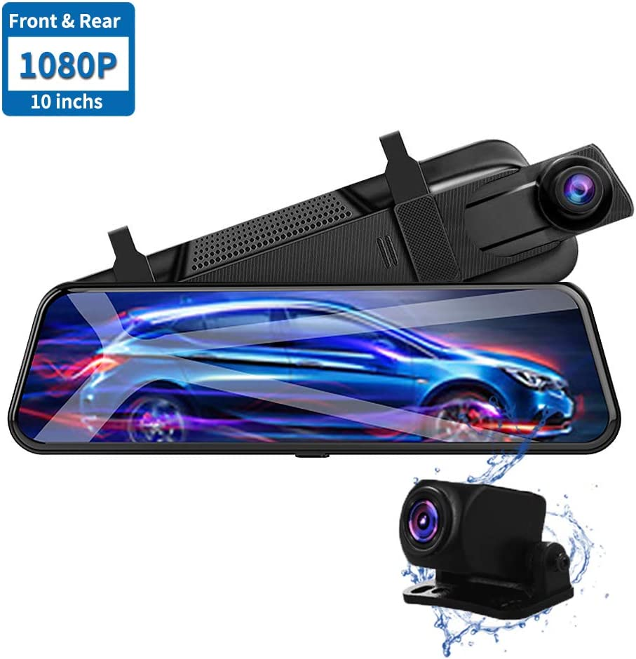 NEWekey Mirror Dash Camera 10 inchs Full Touch Screen Backup Camera Mirror, Streaming Media 1080P HD Front and Rear View Mirror Dash Camera with G-Sensor and Night Vision Waterproof