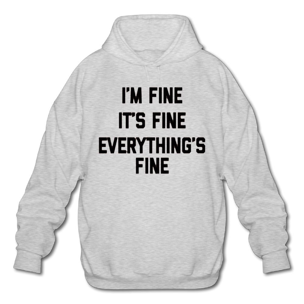 Shuang Li Ren I'm Fine, It's Fine, Everything's Fine Long Sleeve For Men Custom Hoodie SweatshirtsizeKey1Ash