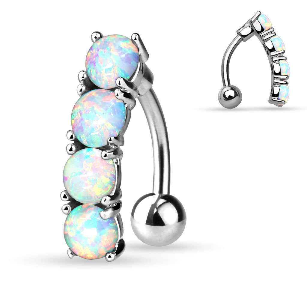Vertical Drop Top Down Synthetic Opal Set 14 GA 3/8 316L Surgical Steel Navel Ring B225 b149