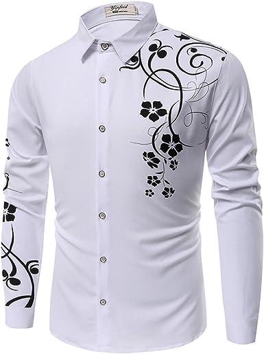 PIZZ ANNU Camisa de los Hombres Impresos en 3D con Botones de Moda Camisa de Manga Larga: Amazon.es: Ropa y accesorios