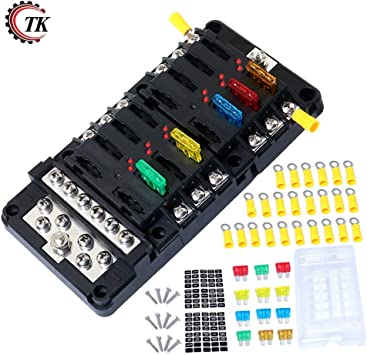 Amazon.com: Onvas 3 in 1 Assembly Blade Fuse Block Box Holder 12 Way Screw  Nut Terminal with Fuses Waterpoof Cover for Boat Marine Automotive -  (Color: Set C): Home ImprovementAmazon.com