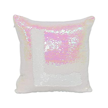 HE 10pcs Sublimation Blank Throw Pillow Covers 40x40 cm Sequin Magic Swipe  Pillow Cases Cushion Cover Decorative Square Reversible Pillowcase Cover