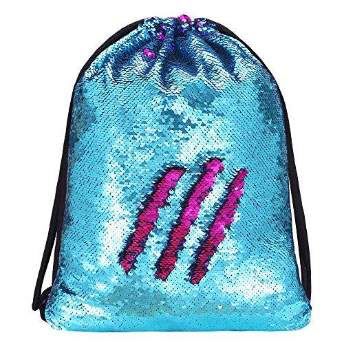 (Alritz Mermaid Sequin Drawstring Bags, Reversible Sequin Gym Dance Backpacks Magic Glittering School Shoulder Bags Gift for Girls Kids Daughter Boy Women (Blue/Rose Pink))
