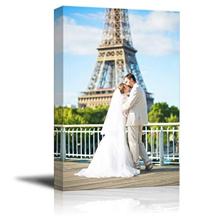 signwin Personalized Canvas Prints Romantic Paris Tower Pictures Customize Poster Wall Art with Your Own Pictures Wood Frame Digitally Printed-48x32inches