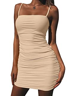 d055c0ffccf Kaximil Women's Sexy Strap Balckless Sleeveless Ruched Mini Bodycon Club  Dresses