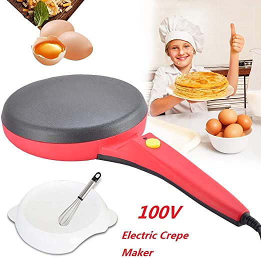 8 inch, Red Blintz Electric Crepe Maker I Pan Style I Hot Plate Cooktop I Nonstick Coating I Automatic Temperature Control I Pancakes Chapati Tortillas 8 inch