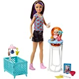 Barbie Babysitting Playset with Skipper Doll, Color-Change Baby Doll, High Chair, Crib and Themed Accessories [Amazon Exclusive]