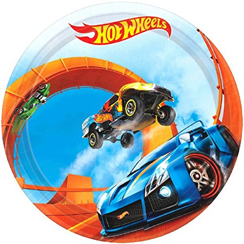 Fast Riding Hot Wheels Wild Racer Birthday Party Round Dessert Plates Tableware, Multi Colored, Paper, 7