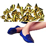 OOOUSE 9.5mm 100pcs Screwback Gold Cone Spikes Studs Leathercraft DIY Punk Spots Bullet