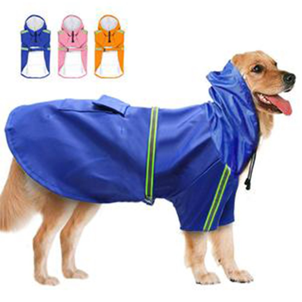 PetFun Super Waterproof Hooded Rain Jacket Reflective Dog Rain Coat for Big Dogs