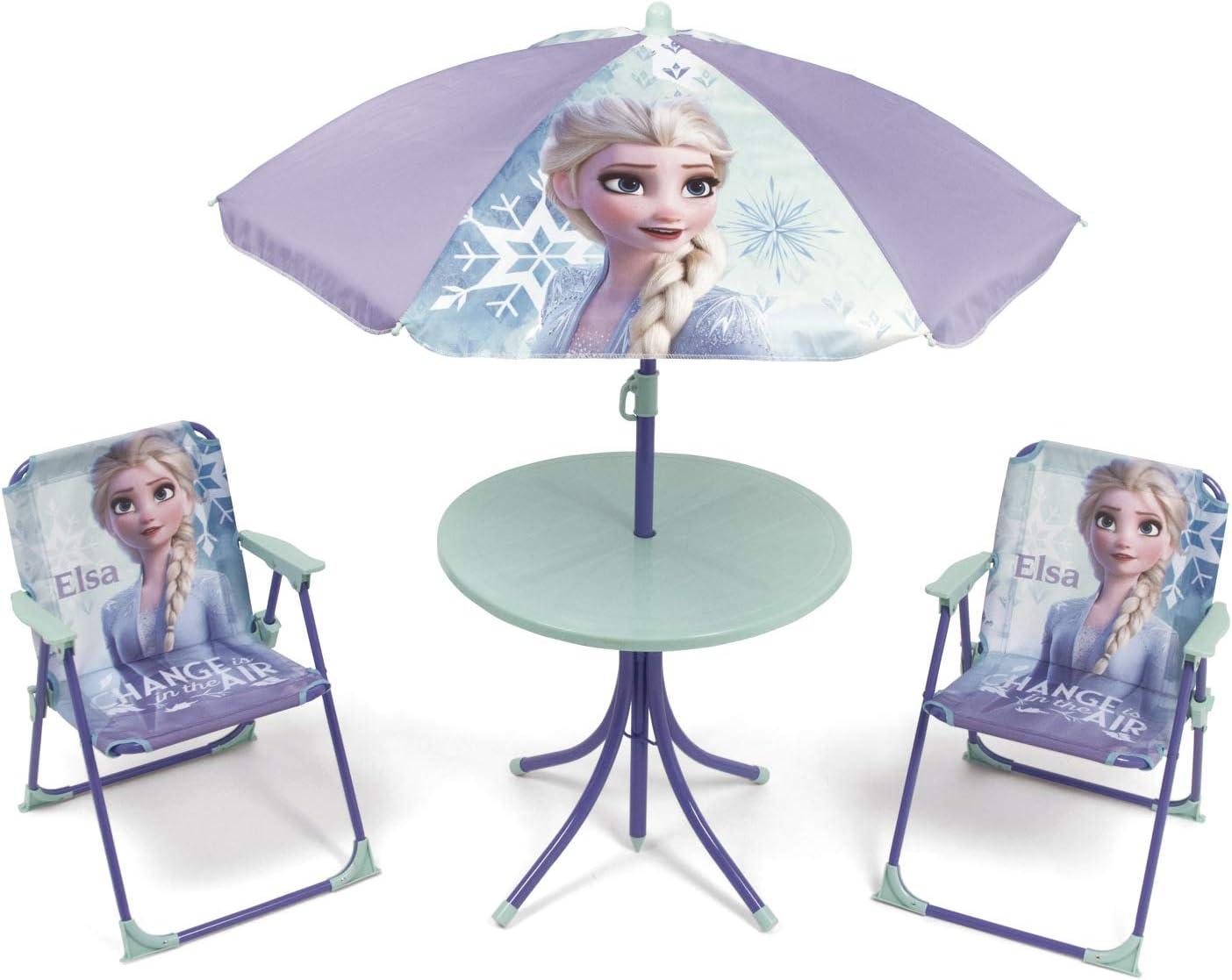 ARDITEX WD12996 Set de Mesa (50x50x48cm), 2 Sillas (38x32x53cm) y Sombrilla (diámetro 110cm) de Disney-Frozen II