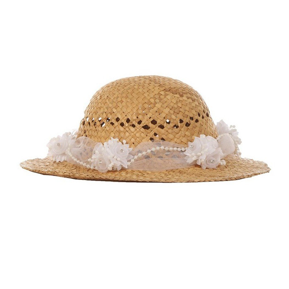 Cinderella Couture Girls Tan White Flower Embellished 21'' Circumference 2'' Brim Straw Hat