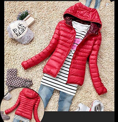 Mujer De Outerwear Chaquetas Fashion Plumas Plumas Rojo Slim Con Abrigo Manga Invierno Coat Cremallera Acolchados Chaqueta Ropa Fit Larga Abrigos Casual Outdoor De SdwxqCSU