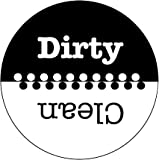 "3.5"" WaterPROOF ""Clean & Dirty"" Polka Dot Design Dishwasher Premium Magnet. MADE IN USA (Black & White)"