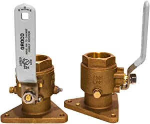 """Groco Tri-Flange Seacock, Full Flow, Ball-Type, 1"""" NPS Bottom Connection, 1"""" Npt Top C"""