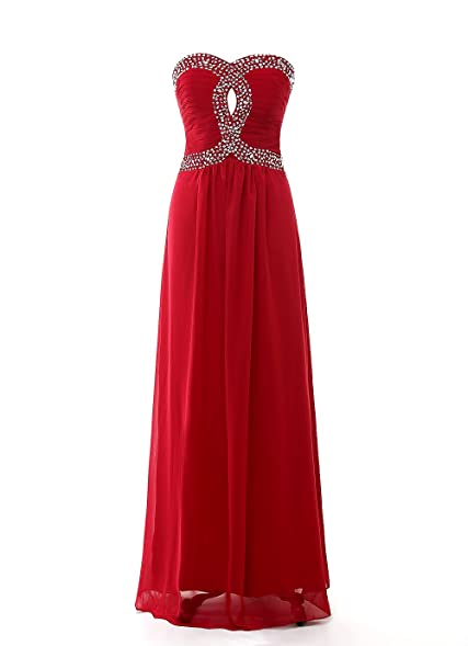 Kiss Dress Chiffon Beading Long Prom Evening Dresses Burgundy XL
