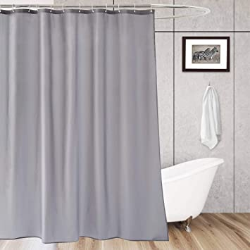 Aoohome Hotel Shower Curtain Liner Fabric Light Grey With Hooks Mildew Resistant