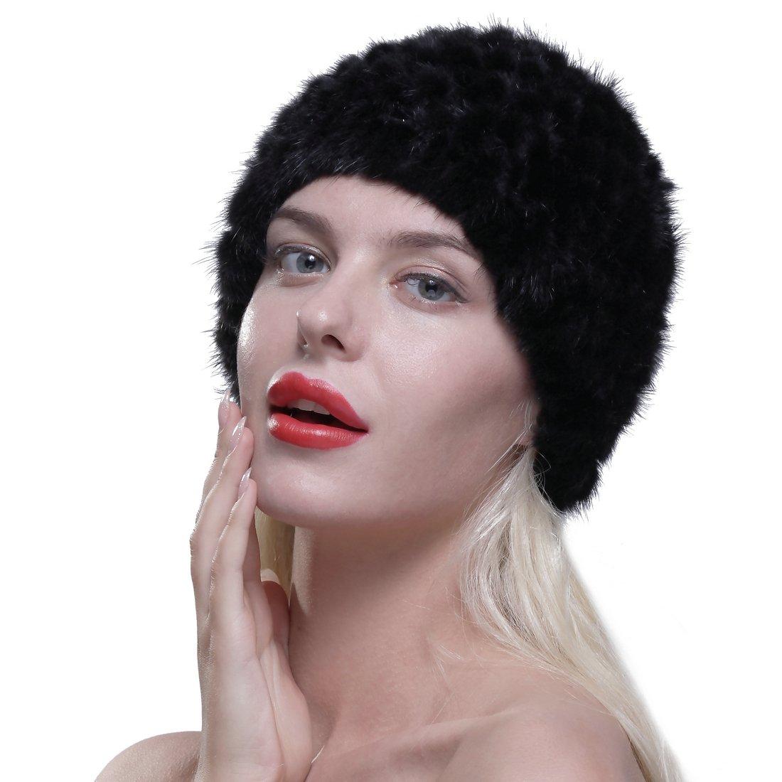 URSFUR Womens Fur Hat Real Mink Fur Knit Beanie Cap Multicolor