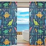 Cute Cartoon Dinosaur Pattern Print Window Sheer Curtain Panels, 2 PCS 55x78 inch, Gauze Curtain for Living Room Bedroom Home Decor