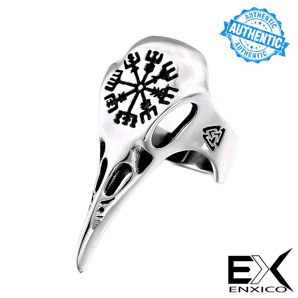 ENXICO Ravens Skull Ring with Aegishjalmur The Helm of Awe Symbol ♢ 316L Stainless Steel ♢ Norse Scandinavian Viking Jewelry|Amazon.com