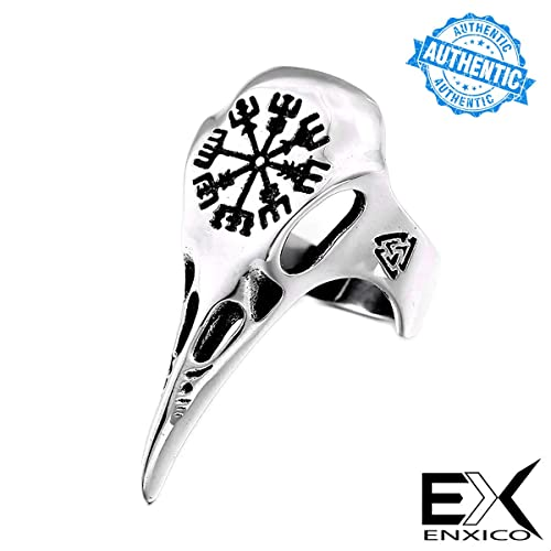 ENXICO Ravens Skull Ring with Aegishjalmur The Helm of Awe Symbol ♢ 316L Stainless Steel ♢