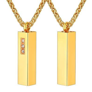 Uniqueen in acciaio inossidabile dorato Collana con ciondolo
