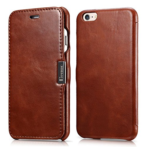 iPhone 6s / 6 Case, Benuo [Vintage Series] [Genuine Leather] Folio Flip Corrected Grain Leather Case [Ultra Slim] with Magnetic Closure for iPhone 6 / iPhone 6s 4.7 inch (Retro Brown) (Leather Flip Case)