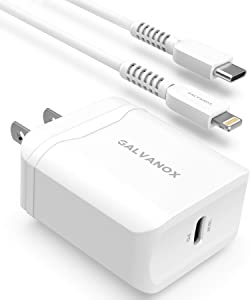 Galvanox Fast Charger for iPhone 11/12 Pro Max (18W) Ultra Fast Charging Wall Plug with MFi Apple Certified USB C to Lightning Cable (PD Power Adapter) - White