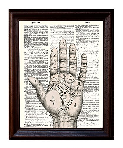 Dictionary Art Print - Palm Reader Diagram - Printed on Recycled Vintage Dictionary Paper - 8