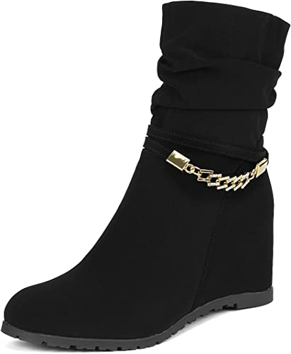 DREAM PAIRS Women's Coline Casual Low Wedge Boots