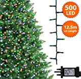 ANSIO Christmas Tree Lights Multicoloured 500 LED 12.5 m Indoor/Outdoor Christmas Lights Decorations Fairy String Lights Memory Timer Mains Powered 41 ft Lit Length 10 m/32 ft Lead Wire Green Cable