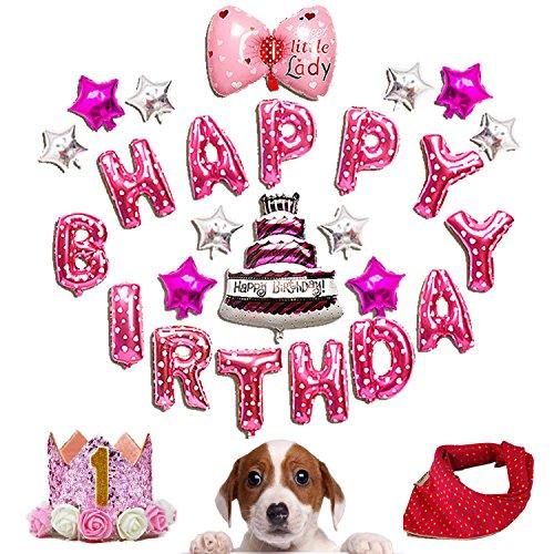 Bandana Pup (MOO&NOO Dog Birthday Set Pet Birthday Decorations Kit with 25Pcs Foil Balloons, Bandana and Crown Hat (Pink Set))