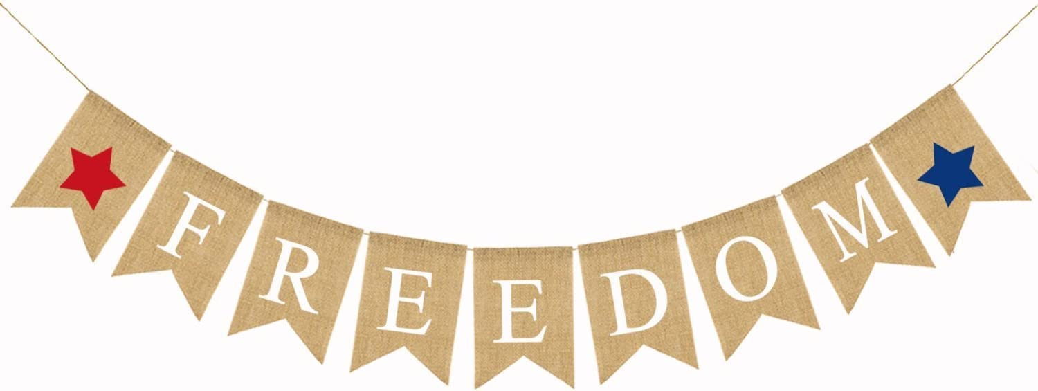 BinaryABC 4th of July Independence Day Burlap Banner, Freedom Bunting Banners Garland Hanging Decor
