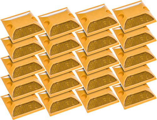 (20 Pack) Commercial Reflective Road Pavement Marker (Yellow)