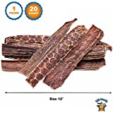 123 Treats Beef Dog Treats Esophagus (12 Inches - 20 Count) 100% Natural Healthy Chews for Dogs - Meat Jerky Snack Free of Preservatives, Hormones & Antibiotics From Grass Fed Cattle