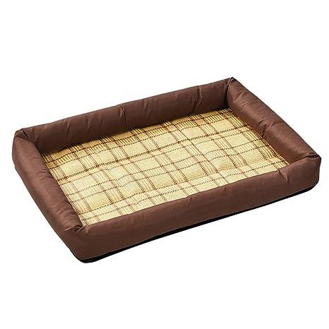 wangjie Alfombrilla de bambú para cama de mascota, cojín de verano, perro, gato