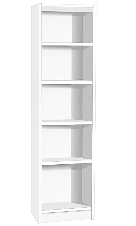 H B48 In Wh White Tall Narrow Bookcase Bookshelf Files Cabinet Home