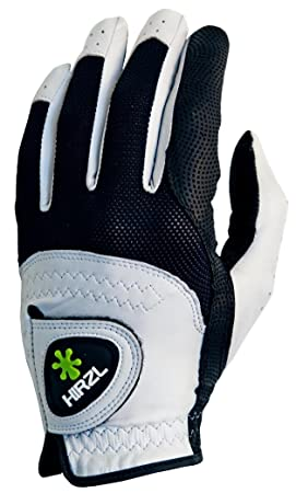 HIRZL Trust Control Golf Glove Mens Textured Palm Kangaroo Leather Black White