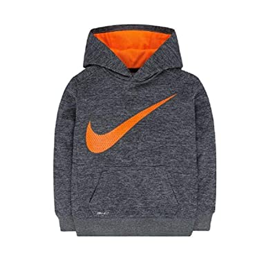44ad285c09 Nike Therma Boys Dri-Fit Therma Fleece Hoodie Pullover, Grey Heather/Total  Orange