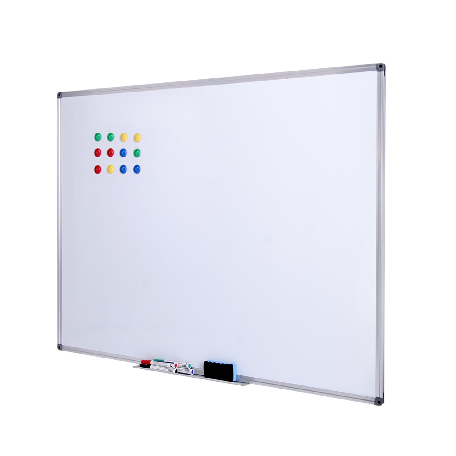 Dry Erase Board - Magnetic Dry Erase Board with Silver Aluminum Frame, Wall Mounted Whiteboard, NOSIVA Large white board with 4 Markers, 1 Eraser and 12 Magnets, 48 x 36 Inches (48x36+4 markers) low-cost