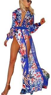 6da7818f530ec UGET Women's Bohemian Printed High Split Maxi Beach Dress Bikini Swimsuit  Cover Up