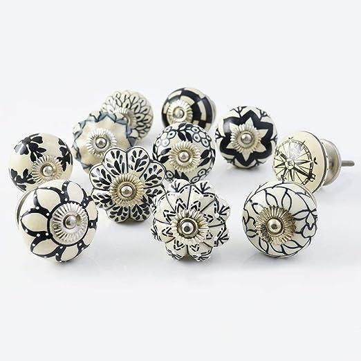 PUSHPACRAFTS - 20 pomelli in ceramica bianca e nera per ...